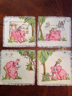 Vintage pink elephant cocktail napkins hand by LunchLadyVintage, $45.00 Vintage Bar, Vintage Pink, Pink Elephants On Parade, Vintage Cocktails, Elephant Face, Chin Chin, Vintage Elephant, Tiki Hut, Wine And Liquor