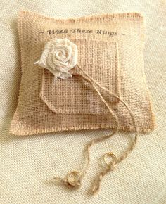 Rustic Wedding Pillow  With These Rings Burlap by LollysCubbyHole, $38.00