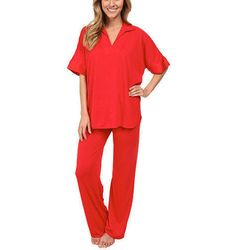 Natori Congo Jersey Tunic Loung Pajamas Set Satin Detail Red Womens XL X-Large #Natori #PajamaSets