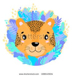 Vector cute kind leopard face in the jungle. For print on a T-shirt, a picture in the nursery. Illustration.