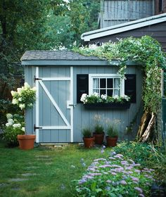 Makeover: A Storage Shed Fit For Entertaining Revive The Exterior of a Garden Shed as a backdrop for backyard entertaining Backyard Storage Sheds, Storage Shed Plans, Backyard Sheds, Large Backyard, Diy Storage, Backyard Landscaping, Storage Ideas, Shed Conversion Ideas, Shed Makeover