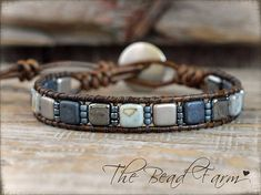 Tile Bracelet, Tile Wrap Bracelet, Beaded Leather Wrap Bracelet, Wrap Bracelet, Womens Handmade Bracelet, Tile Bead Bracelet This comfortable and lovely bracelet features genuine 6mm Czechmate tile beads and Toho 11/0 seed beads that are hand-stitched (wrapped) to leather using 2 strands