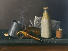This painting, Materials For A Leisure Hour, was painted in 1879 and today hangs in the Museo Thyssen-Bornemisza in Madrid. And how could the materials for an hour of leisure not include a bottle of beer and a tankard for your beer. Canvas Art Prints, Oil On Canvas, Black And White Vase, Madrid, Art Ancien, Irish American, Still Life Art, Vanitas, New Artists