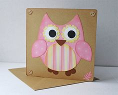 CUTE large OWL birthday card patchwork effect by Handmadebyrianna, £2.79