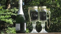 Pair of Personalized His  Hers Mason Jar  Redneck Wine Toasting Glasses with Daisy Lids