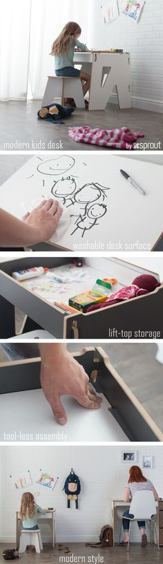 This kids desk is the perfect start to a little studio with plenty of storage for papers, pens and treasures.  Modern design, durable easy clean surfaces, easy assembly make this american made children's desk an essential piece to a playroom.