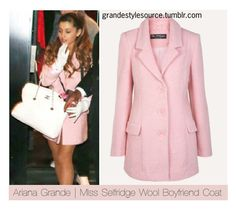 ariana grande looking fabulous in a pink coat and I totes love the white gloves Girly Outfits, Cute Outfits, Fashion Outfits, Pink Fashion, Modest Fashion, Work Outfits, Women's Fashion, Pink Peacoat, Boyfriend Coat