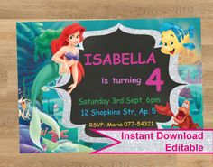 Your place to buy and sell all things handmade Shopkins Invitations, Birthday Invitations, Ariel, Rsvp, Diy, Disney Princess, Disney Characters, Handmade Gifts, Kid Craft Gifts