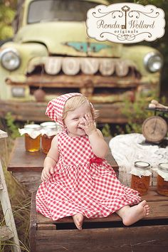 Ronda Wollard Originals » Blog - Honey Stand Themed First Birthday Session with vintage truck