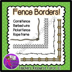 Fence borders - corral, picket, barbed wire and rope! Color & black line from Graphics Resource Force on TeachersNotebook.com -  (12 pages)  - Get your hands on this adorable set of fence borders! There are 12 images in total in 4 different styles including:  * Corral fence * Picket fence * Barbed wire * Rope frame with knots