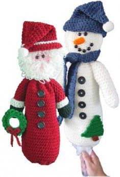 PA251 Santa and Snowman Bag Keeper Patterns- The Santa and Snowman Bag Keeper Patterns are approximately 18 inches tall and rated at an easy level. This easy crochet pattern uses basic crochet stitches, making it perfect for a beginner crochet level. Any skill level will have fun making this festive holiday decoration. Both patterns use a worsted-weight yarn and the common-sized G-6 crochet hook.