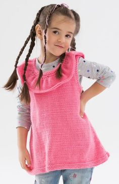 Free knitting pattern for Rockin the Ruffles Tunic Vest - Jodi Lewanda at Red Heart designed this easy vest with a sweet ruffled collar with two versions for baby and child. Baby sizes: 6-24 months. Child sizes: 2,4,6 years