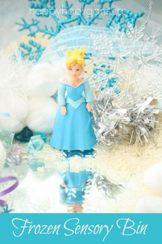 Frozen Sensory Bin - Elsa and Anna sensory play - Happy Hooligans