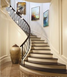 ✔ 50 unique modern staircase design ideas for your dream house 12 Modern Stair Railing, Wrought Iron Stair Railing, Stair Railing Design, Modern Stairs, Iron Balusters, Iron Staircase, Staircase Railings, Curved Staircase, Staircase Ideas