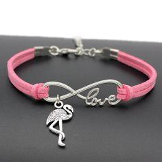 Cute Flamingo Pendant Fashion Leather Bracelet