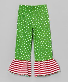 With their playful mix of patterns and stretchy fit, these festive ruffle pants will bring little ones plenty of comfort and joy this holiday season. An elastic waistband adds just the right amount of wiggle room.