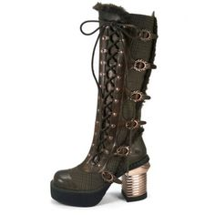 $230.00   Hades Knee high platform boots w/ oxford tuxedo fabric  Reference: LANGDON  Condition: New product  Knee high platform boots w/ oxford tuxedo fabric overlapped with matching thundra PU layer. Criss cross side straps secured w/ bronze eyelets & flame buckles. Matching fur lined on top and side. Inner zipper. 3.5″ steam engine chunky heel.  Color   BLACK, BROWN Size   6, 7, 8, 9, 10, 11 Brand   Hades Upper   Matte