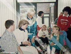 March 30, 1987:  Princess Diana with Jimmy Saville meeting with patients at Stoke Mandeville hospital.