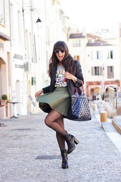Get this look (skirt, coat, shirt, purse, bootie, sunglasses) http://kalei.do/WQHrlALm0ja3lij5