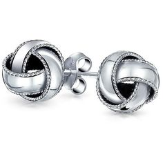 Bling Jewelry My Love Knots Studs ($21) ❤ liked on Polyvore featuring jewelry, earrings, grey, stud-earrings, sterling silver love knot earrings, sterling silver earrings, gray earrings, braid jewelry and love knot stud earrings