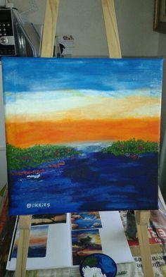 Sunset over river. Oil paint on canvas. Artist is Charl Blignaut (Blikkies). 2015