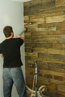 Reclaimed wood wall, pallet wood?