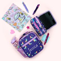 Lunch time 🤤 who's hungry? Get creative personalise your bag, lunch bag or pencil case. link in bio 🤓 Cool Pencil Cases, Pencil Cases For Girls, Unicorn Pencil Case, Personalized Gifts For Kids, Unicorn Kids, School Stationery, Presents For Kids, Pouch Bag, Lunch Time