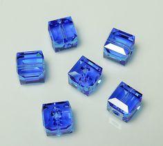 Swarovski 5601 6mm Sapphire Crystal Cube Beads  by BestBuyDesigns