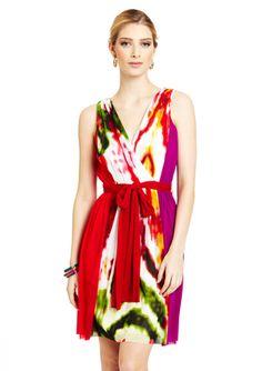 VIVIENNE TAM Colorblock Chiffon Dress