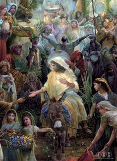 Jesus riding the donkey - palms laid below and praises ringing. oh Hosanna! Pictures Of Jesus Christ, Bible Pictures, Christian Images, Christian Art, Catholic Art, Religious Art, Jesus Painting, Bible Illustrations, Jesus Art