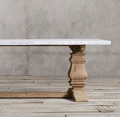 RH's Salvaged Wood & Marble Trestle Natural and Marble Rectangular