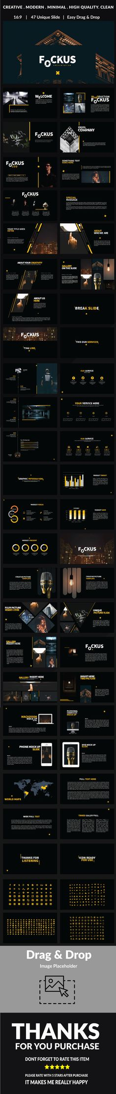 Fockus - Multipurpose Powerpoint ultra-modern and unique design, where each slide is created with love and attention to detail. Fockus is a multipurpose Powerpoint template that can be used for any type of presentation: business, portfolio, corporate, branding.