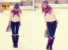 Socks with boots a scarf and leggings