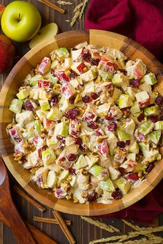 Apple Fruit Salad (with Creamy Cinnamon Dressing) - Cooking Classy - The perfect autumn fruit salad! Its loaded with crisp, sweet apples, cranberries and walnuts and covered in a rich, cinnamon cream cheese dressing. Whats not to love 12 servings Apple Walnut Salad, Apple Salad Recipes, Fruit Recipes, Cooking Recipes, Shot Recipes, Healthy Fruits, Healthy Snacks, Healthy Recipes, Vegetarian