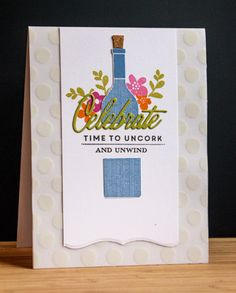 card bottle and glasses wine bottle card Retirement card cheers drinks