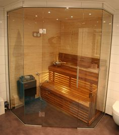 bastuvägg i glas - Lilly is Love Mid Century Modern Bathroom, Modern Bathroom Design, Saunas, Jacuzzi, Mid-century Modern, Sweet Home, Relax, House Design, Sauna Ideas