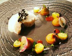 Buttermakrele/ Dreielrei von Karoten / Weissweinschaum / Coralchips/ Ethnic Recipes, Food, Fish, Meal, Essen, Hoods, Meals, Eten