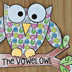 This packet will provide you with template pieces to make a cute 'vowel owl' to reinforce the vowels {a, e, i, o, u}. I have chosen an owl for this craft to reinforce the fact that vowels are sounds that are created when air passes through the mouth without obstruction.