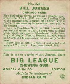 1933 Goudey #225 Billy Jurges Back