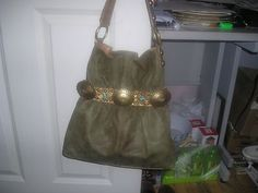 Kathy Van Zeeland Belted Purse Moss Green Faux Suede with Indian Motif VGC | eBay