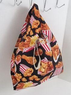 Reusable Lunch Bag // Fried Chicken Print w/ Strap and Button Closure | reusable bag, reusable shopping bag, reusable grocery bag, vegan bag