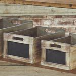 Site that has TONS of Vintage Farmhouse decor... LOVE IT! Goodbye paychecks LOL! Chalkboard Produce Crates