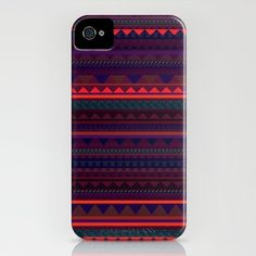 MAROON HUE AZTEC iPhone Case by Vasare Nar - $35.00