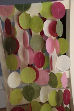 Tissue Paper Garland, Party Garland, Birthday Garland, Wedding Garland- Berry and Moss Hues. $9.50