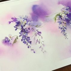 Special project. ;-) #watercolor #paint #painting #art #artist #wisteria #project