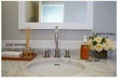 'Tis the season for holiday entertaining, so thought I'd take a moment to give a rundown on how I prep one of the most important areas of my house for guests: the powder room. It just takes a moment, but. Powder Room Decor, Powder Room Design, Neutral Bathroom Colors, Black Powder Room, Bathroom Organization, Organized Bathroom, Home Trends, Room Essentials, Bathroom Sets