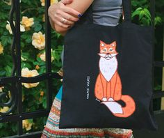 Shopping/tote bag with and appliquéed painted fox by SkadiaArt