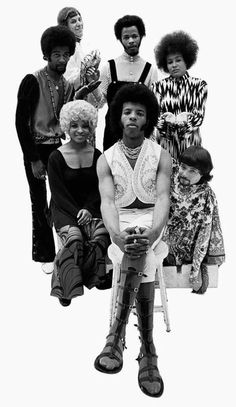Sly and the Family Stone, including from the top, Larry Graham, Cynthia Robinson, Jerry Martini, Sly Stone, Rose Stone, Freddie Stone and Gregg Errico.