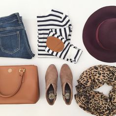 StylishPetite.com   Elbow patch striped sweater, burgundy wool floppy hat, leopard scarf, vince camuto franell ankle booties, camel purse, fall outfit, fall fashion, pattern mixing outfit