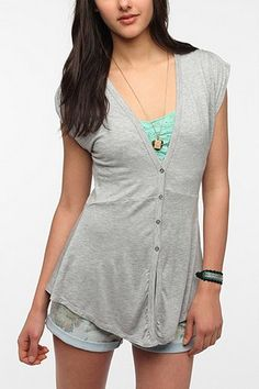 Pins And Needles Deep-V Button Up Top